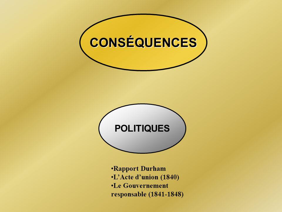 CONSÉQUENCES POLITIQUES Rapport Durham L'Acte d'union (1840)