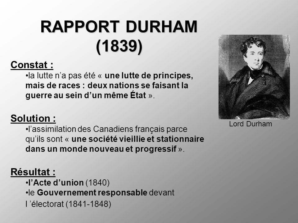 RAPPORT DURHAM (1839) Constat : Solution : Résultat :