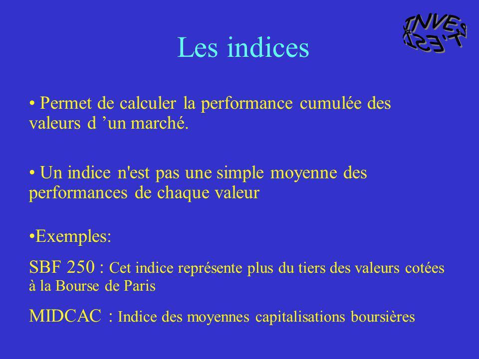 INVEST ESI. Les indices. Permet de calculer la performance cumulée des valeurs d 'un marché.