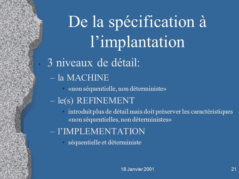 De la spécification à l'implantation