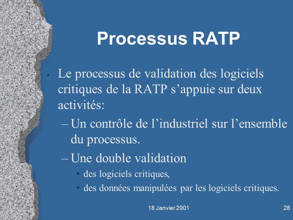 Processus RATP Le processus de validation des logiciels critiques de la RATP s'appuie sur deux activités: