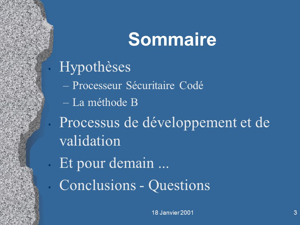 Sommaire Hypothèses Processus de développement et de validation