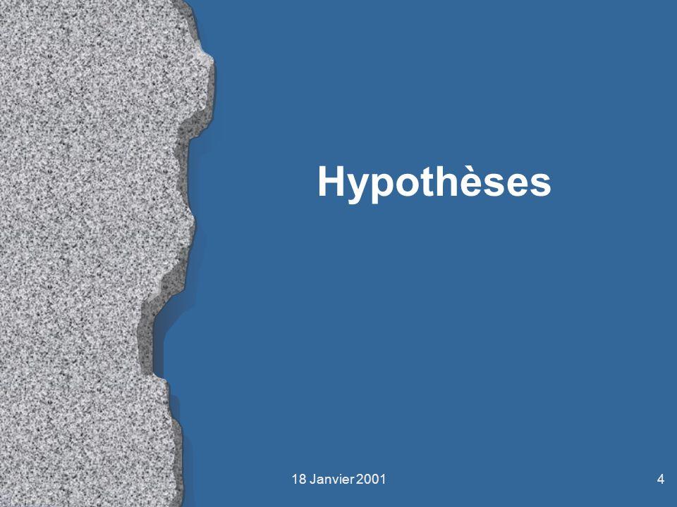 Hypothèses 18 Janvier 2001