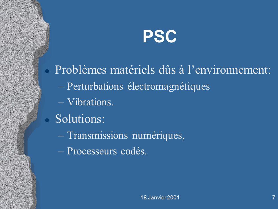 PSC Problèmes matériels dûs à l'environnement: Solutions: