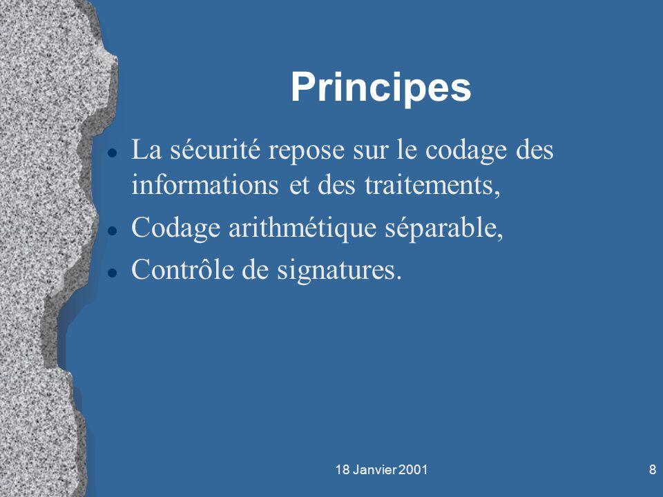 Principes La sécurité repose sur le codage des informations et des traitements, Codage arithmétique séparable,