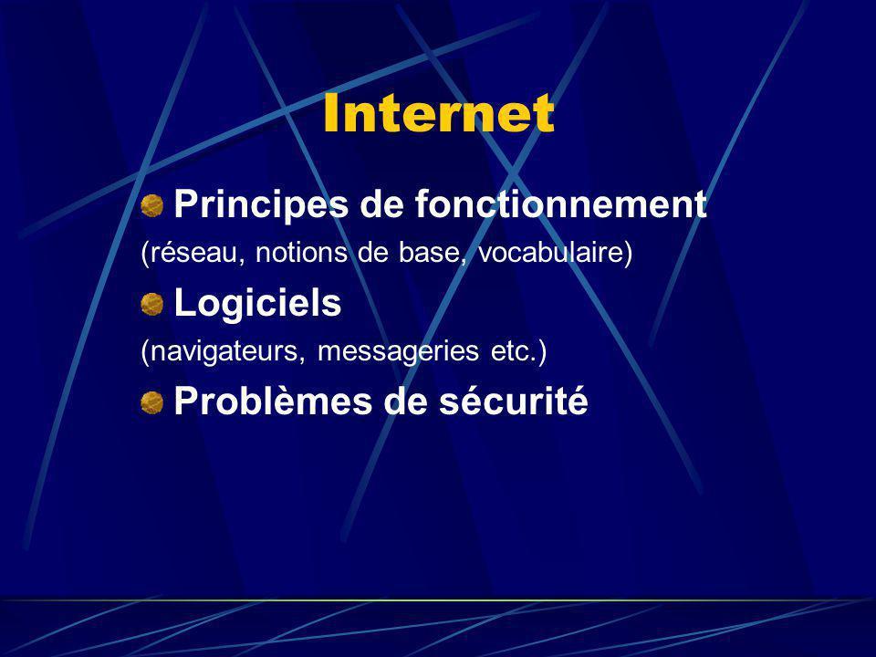 Internet Principes de fonctionnement Logiciels Problèmes de sécurité