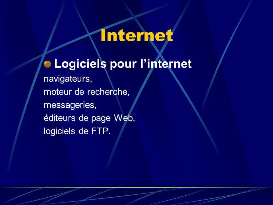 Internet Logiciels pour l'internet navigateurs, moteur de recherche,
