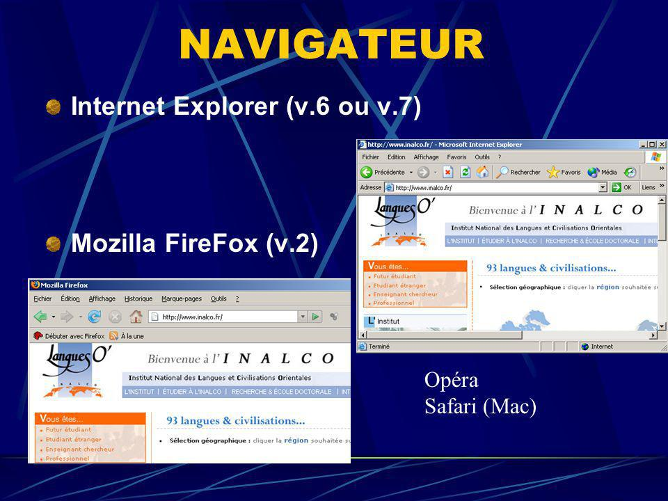 NAVIGATEUR Internet Explorer (v.6 ou v.7) Mozilla FireFox (v.2) Opéra