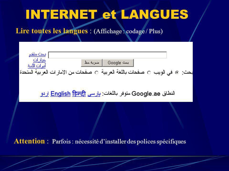 INTERNET et LANGUES Lire toutes les langues : (Affichage : codage / Plus) Attention : Parfois : nécessité d'installer des polices spécifiques.