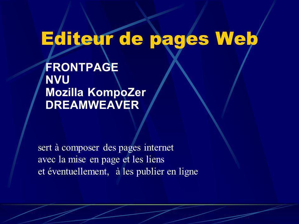 Editeur de pages Web FRONTPAGE NVU Mozilla KompoZer DREAMWEAVER
