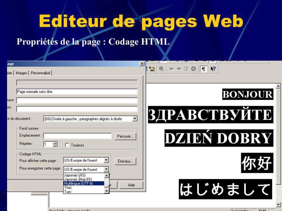 Editeur de pages Web Propriétés de la page : Codage HTML