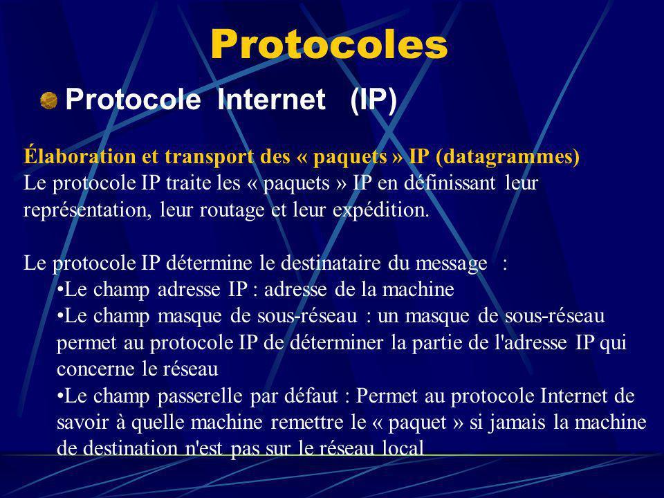 Protocoles Protocole Internet (IP)