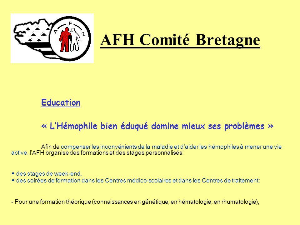 AFH Comité Bretagne Education. « L'Hémophile bien éduqué domine mieux ses problèmes »