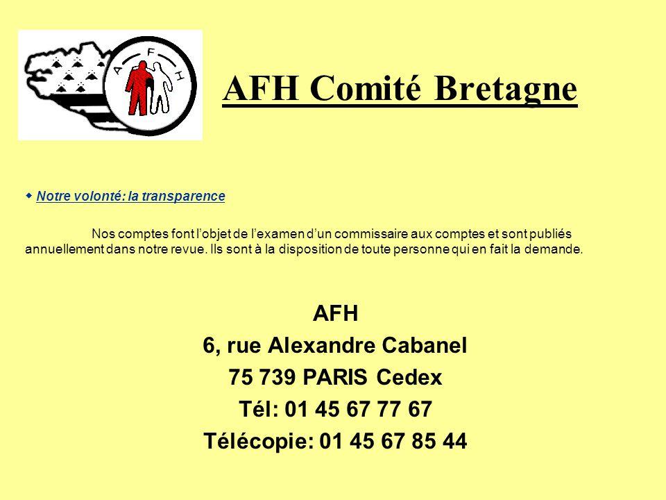 AFH Comité Bretagne AFH 6, rue Alexandre Cabanel 75 739 PARIS Cedex