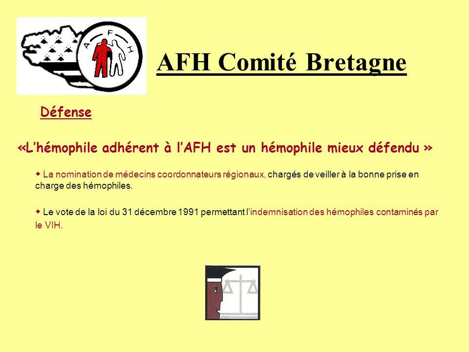 AFH Comité Bretagne Défense. «L'hémophile adhérent à l'AFH est un hémophile mieux défendu »