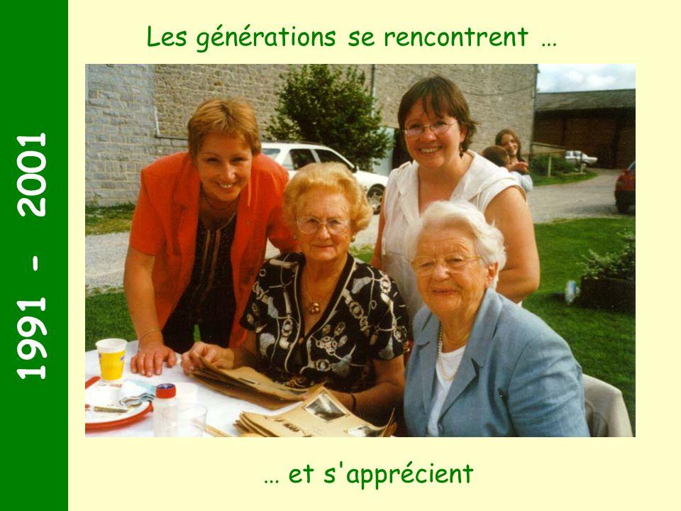 1991 - 2001 Les générations se rencontrent … … et s apprécient