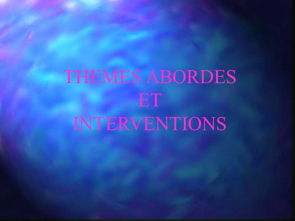 THEMES ABORDES ET INTERVENTIONS