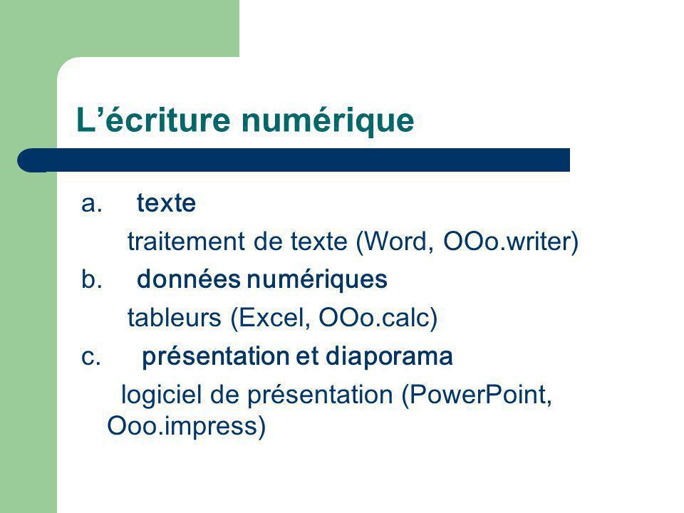 L'écriture numérique a. texte traitement de texte (Word, OOo.writer)