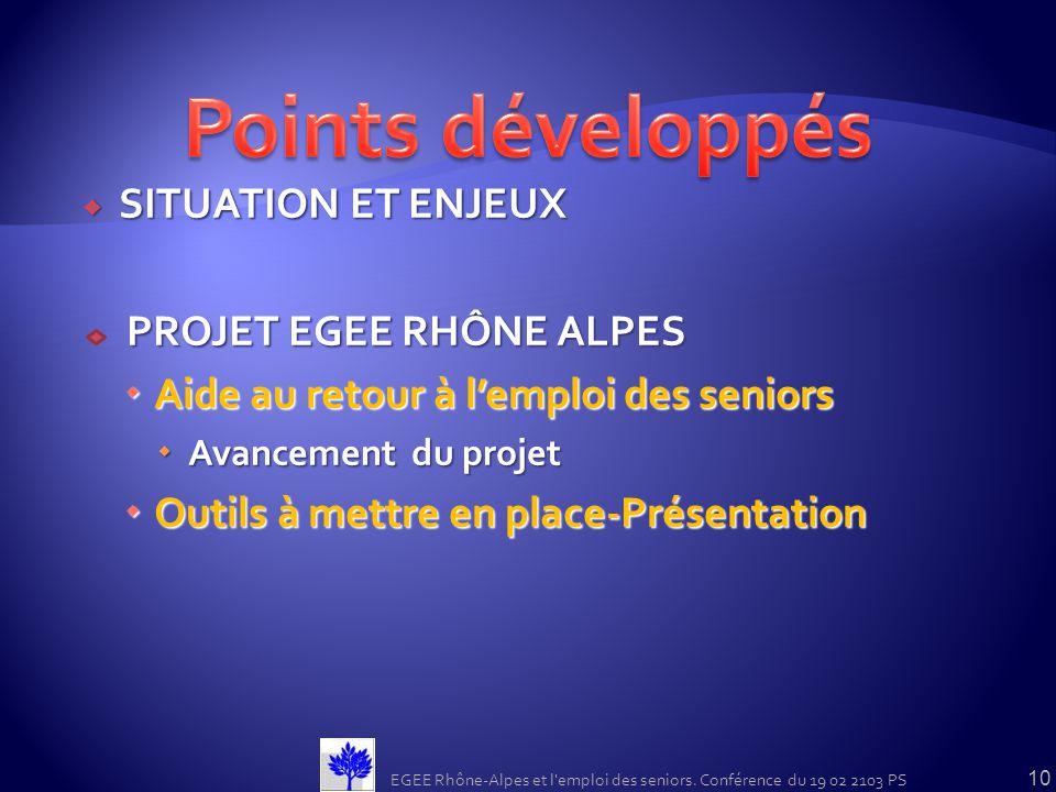 Points développés SITUATION ET ENJEUX PROJET EGEE RHÔNE ALPES