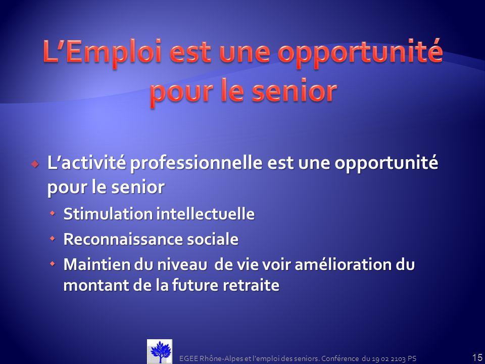 L'Emploi est une opportunité pour le senior