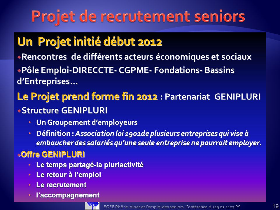 Projet de recrutement seniors
