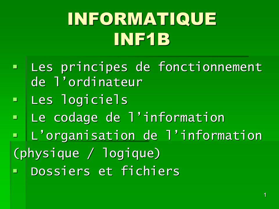 INFORMATIQUE INF1B Les principes de fonctionnement de l'ordinateur