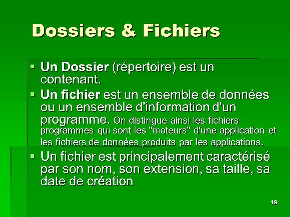 Dossiers & Fichiers Un Dossier (répertoire) est un contenant.