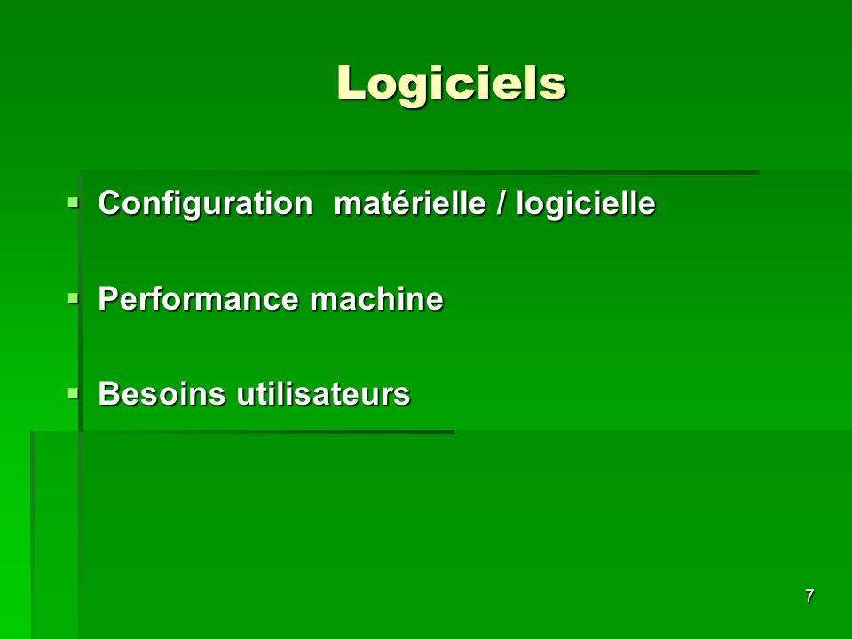 Logiciels Configuration matérielle / logicielle Performance machine