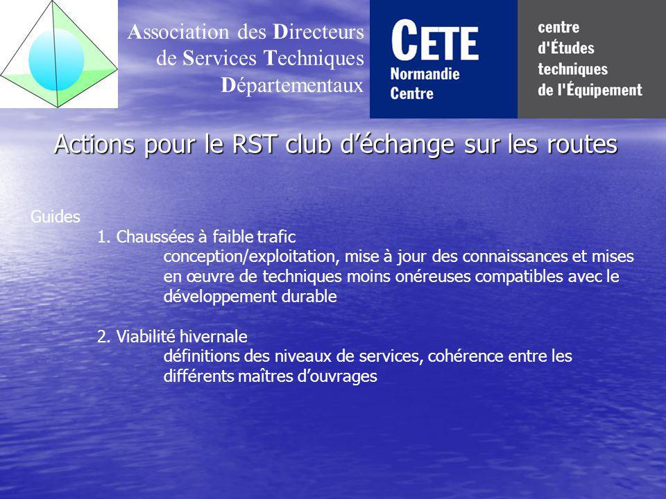 Actions pour le RST club d'échange sur les routes