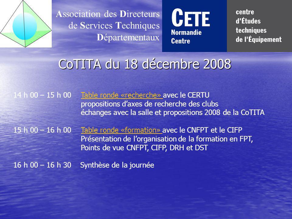 CoTITA du 18 décembre 2008 Association des Directeurs