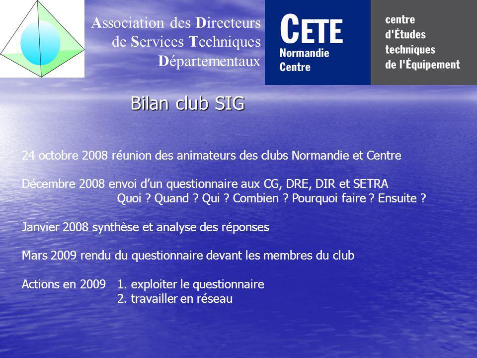 Bilan club SIG Association des Directeurs de Services Techniques