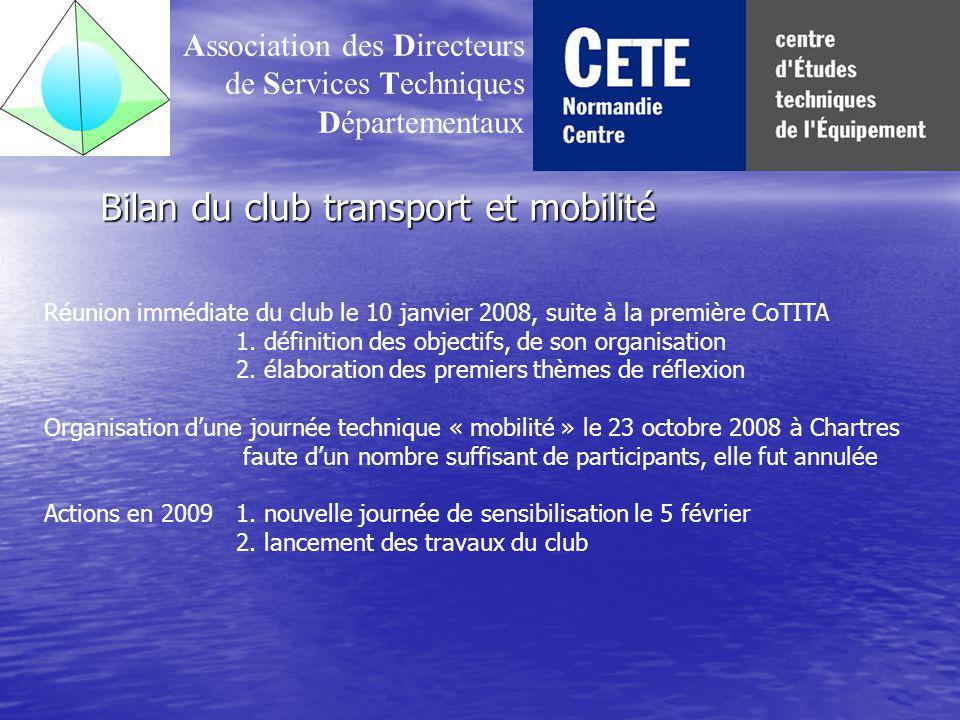 Bilan du club transport et mobilité