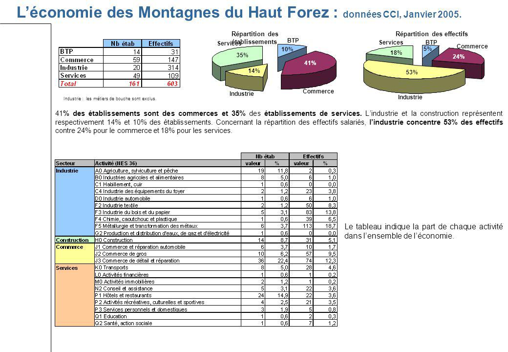 L'économie des Montagnes du Haut Forez : données CCI, Janvier 2005.