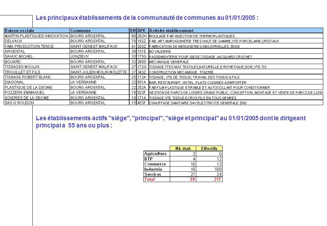 Les principaux établissements de la communauté de communes au 01/01/2005 :