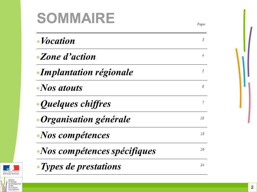 SOMMAIRE Vocation Zone d'action Implantation régionale Nos atouts