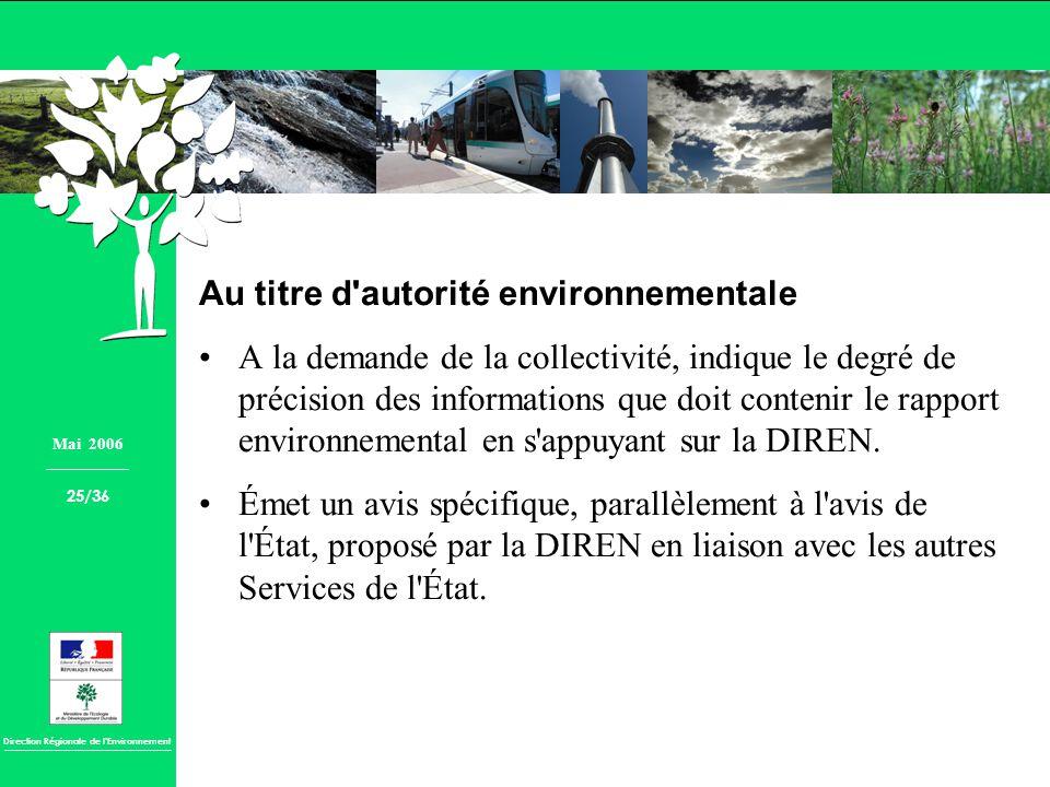 Au titre d autorité environnementale