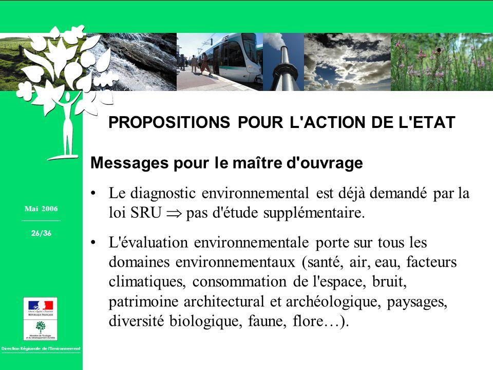 PROPOSITIONS POUR L ACTION DE L ETAT