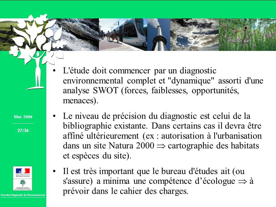L étude doit commencer par un diagnostic environnemental complet et dynamique assorti d une analyse SWOT (forces, faiblesses, opportunités, menaces).