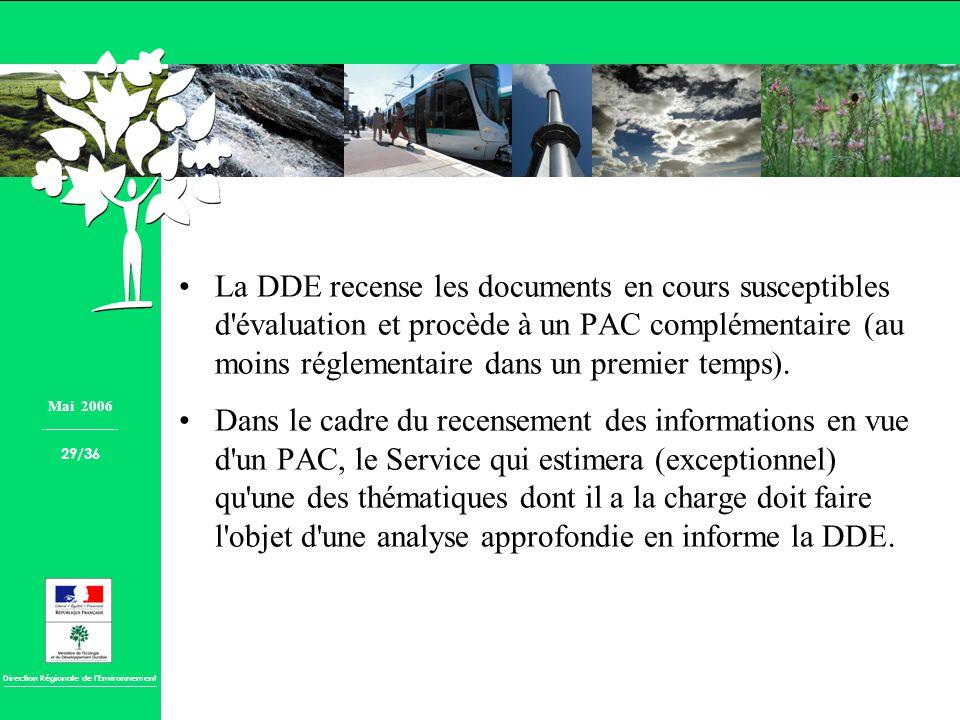 La DDE recense les documents en cours susceptibles d évaluation et procède à un PAC complémentaire (au moins réglementaire dans un premier temps).
