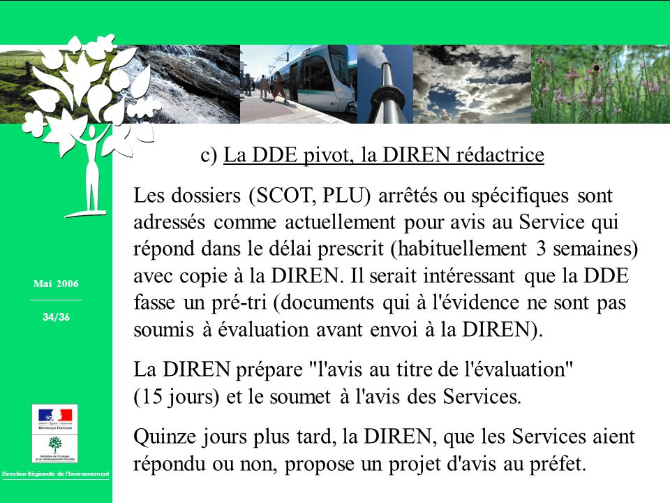 c) La DDE pivot, la DIREN rédactrice