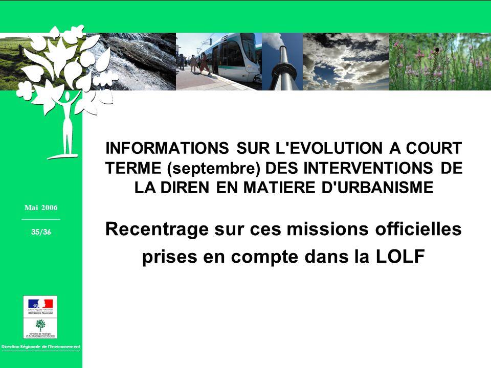 Recentrage sur ces missions officielles prises en compte dans la LOLF