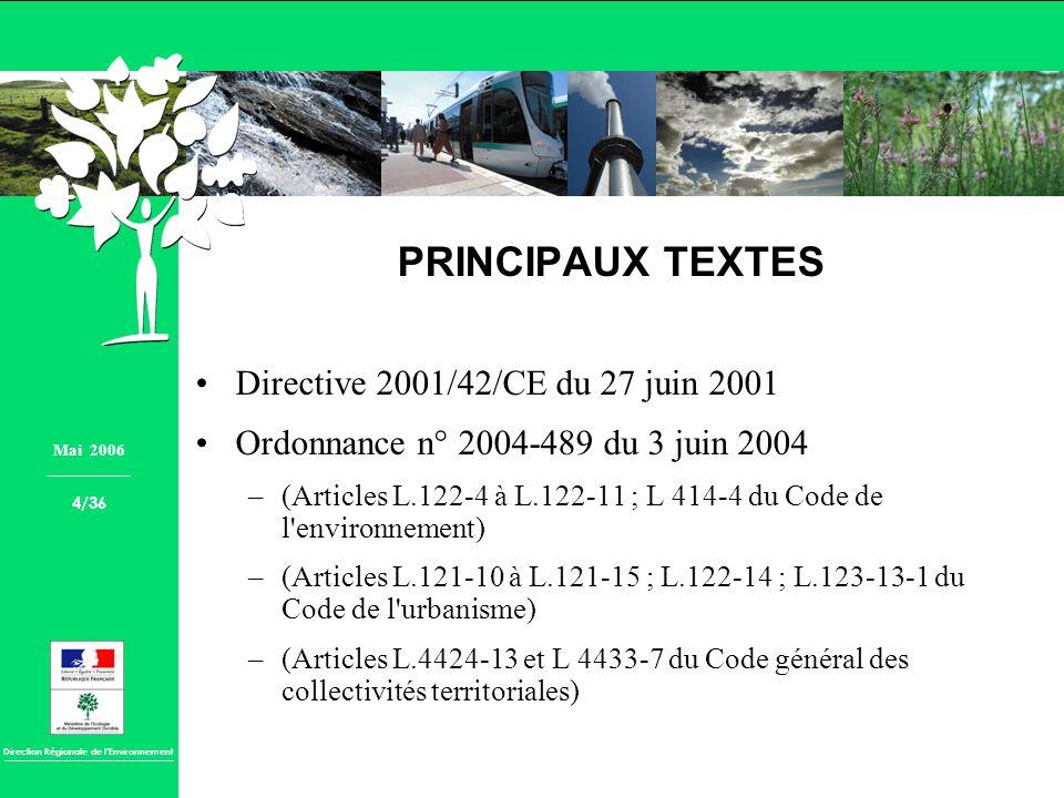 PRINCIPAUX TEXTES Directive 2001/42/CE du 27 juin 2001