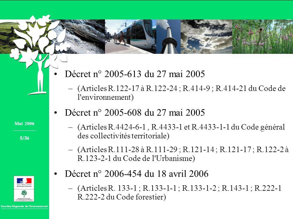 Décret n° 2005-613 du 27 mai 2005 Décret n° 2005-608 du 27 mai 2005