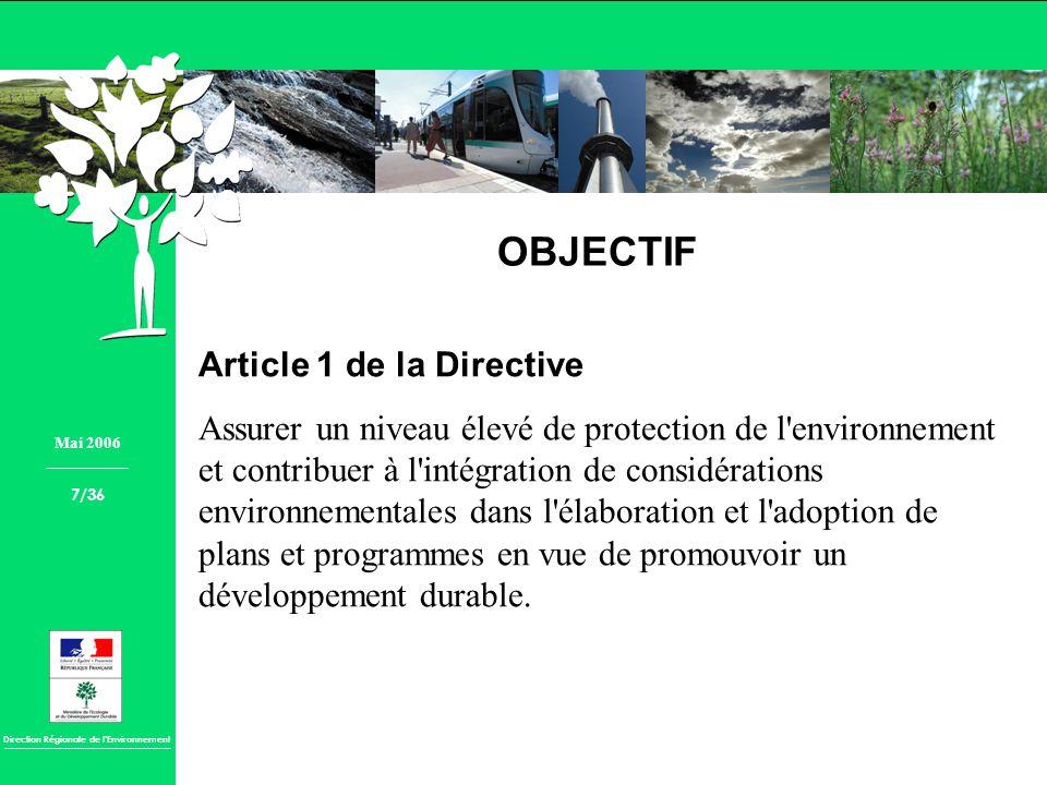 OBJECTIF Article 1 de la Directive