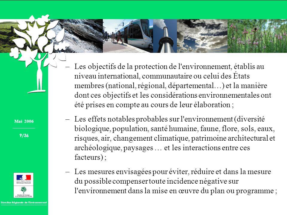 Les objectifs de la protection de l environnement, établis au niveau international, communautaire ou celui des États membres (national, régional, départemental…) et la manière dont ces objectifs et les considérations environnementales ont été prises en compte au cours de leur élaboration ;