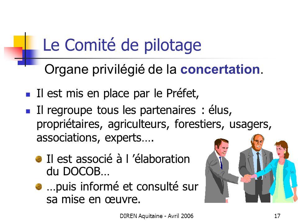 Le Comité de pilotage Organe privilégié de la concertation.