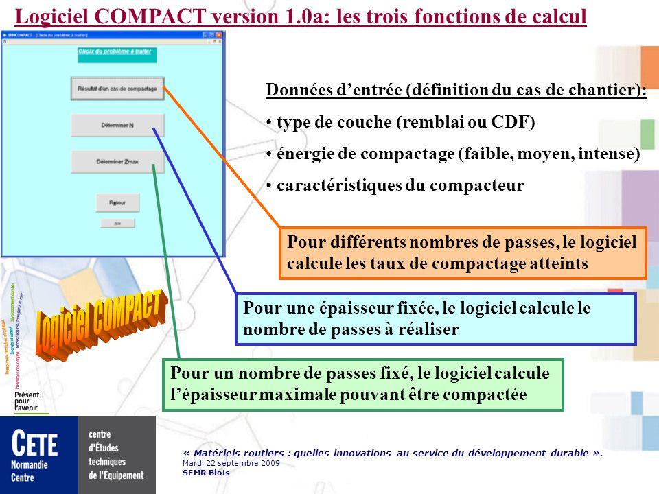 Logiciel COMPACT version 1.0a: les trois fonctions de calcul
