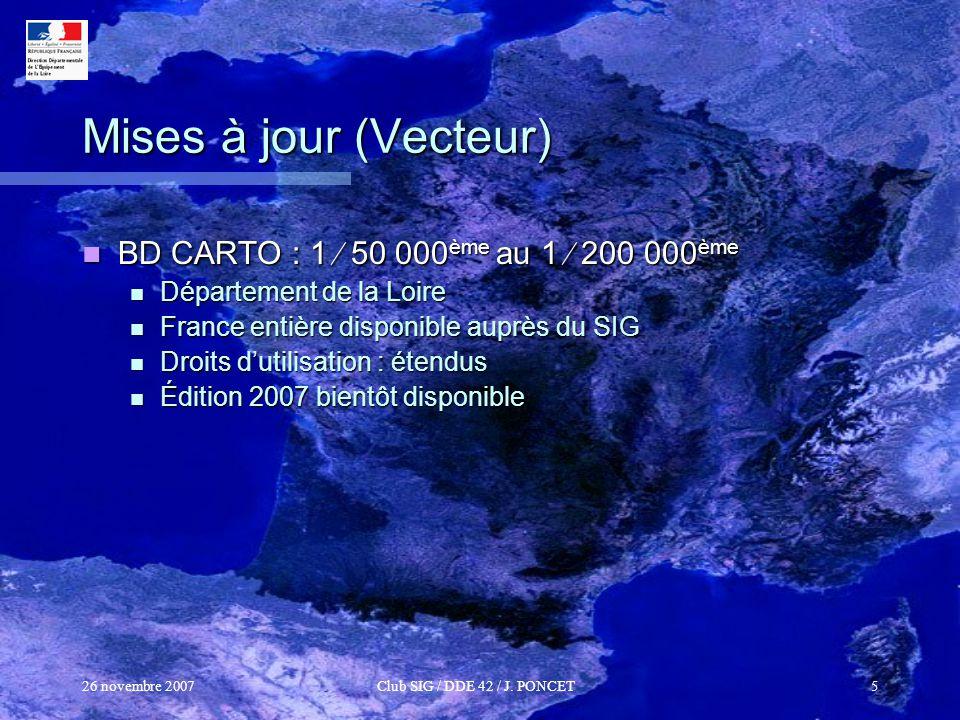Mises à jour (Vecteur) BD CARTO : 1  50 000ème au 1  200 000ème