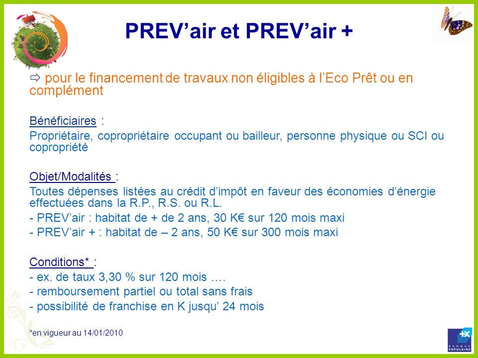 PREV'air et PREV'air + pour le financement de travaux non éligibles à l'Eco Prêt ou en complément.