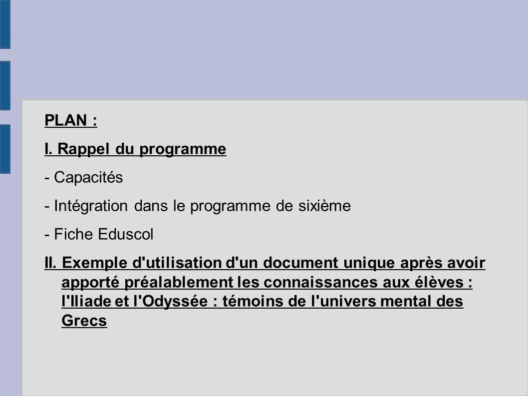 PLAN : I. Rappel du programme. - Capacités. - Intégration dans le programme de sixième. - Fiche Eduscol.